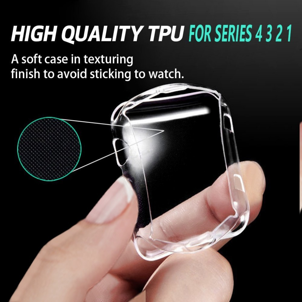 Full Case For Apple Watch 5 4 3 2 40MM 44MM Protective TPU HD Clear Ultra-Thin Cover Screen Protector Cover For Iwatch 38MM 42MM