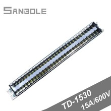 TD-1530 Guide Group Combine Connection Dual Row Terminal Block Strip Barrier 30 Positions 15A DIN rail Screw 380v 30a dual row 12 position screw terminal barrier strip block