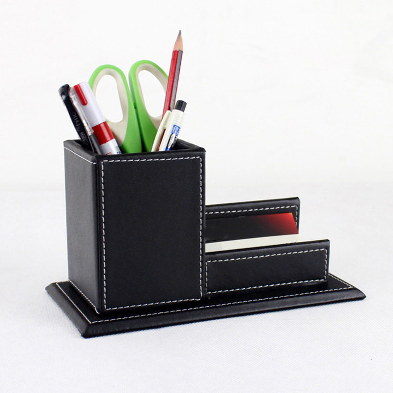 Pu Leather Desk Accessories & Organizer Sets Storage Box Organizer Case Business Card Display Stand Pen Holders Office Supplies
