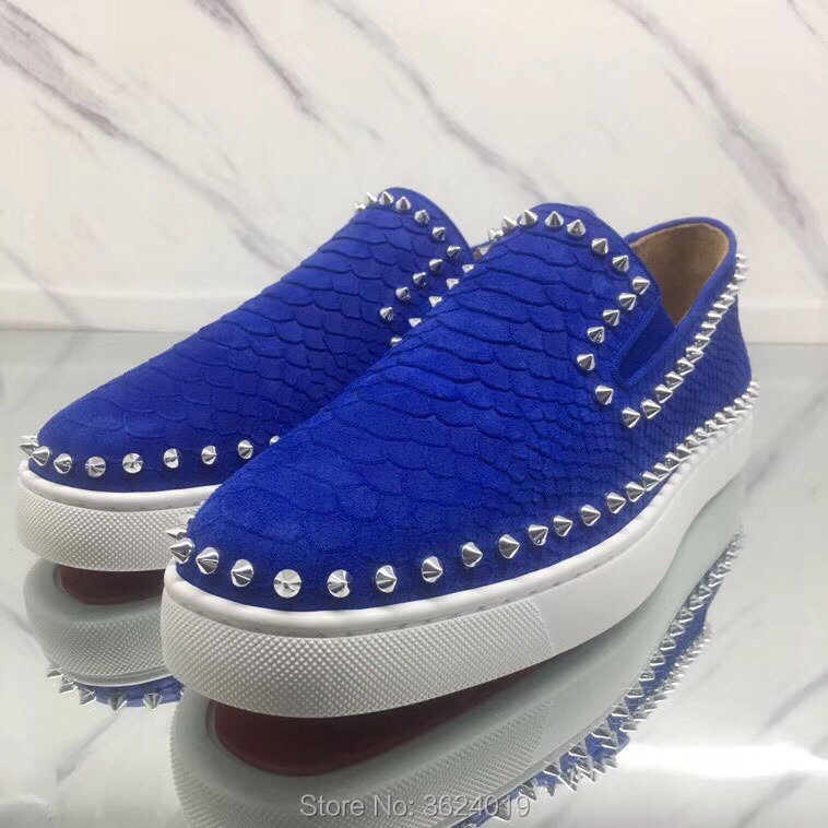 823b6b4cb82 Low cut cl andgz Slip On Blue Snake circle Rivets Red Bottoms Shoes  Sneakers casual Leather Loafers For Man s Flat 2018 Footwear-in Men s  Casual Shoes from ...