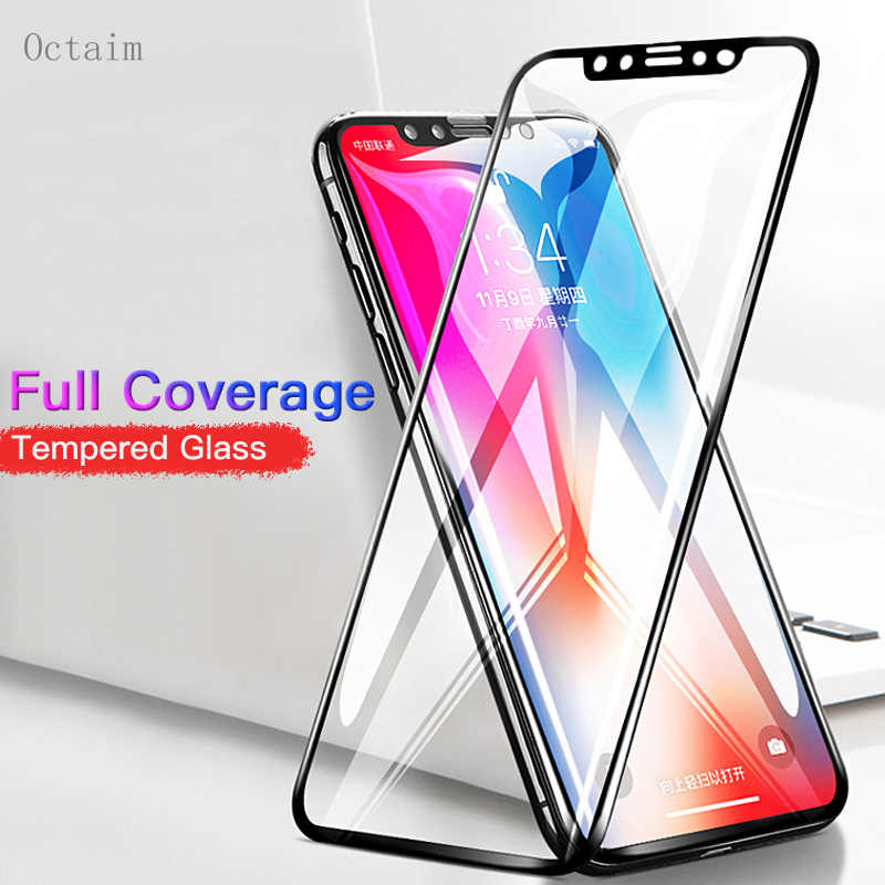 9H Tempered Glass Film for iPhone X 8 Plus Full Cover 3D Carbon Fiber Edge Screen Protector for iPhone 7 6 6S Plus 5 XS Max XR