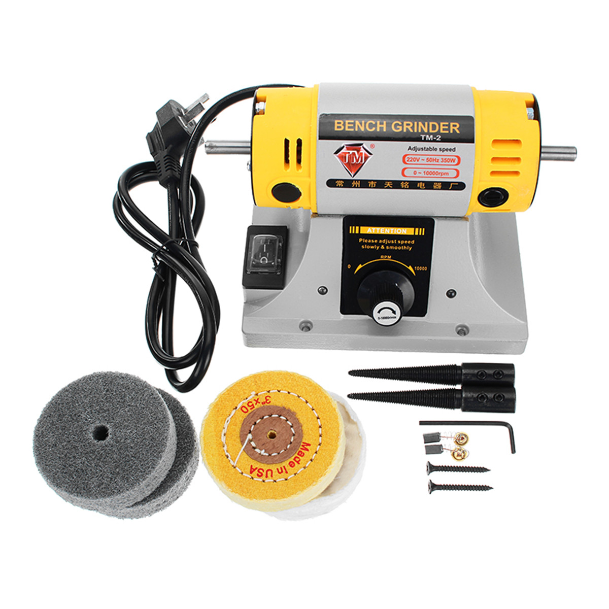 Image 2 - 220V 350W Polishing Machine for Jewelry Dental Bench Lathe Machine Motor Grinder With Accessories-in Polishers from Tools