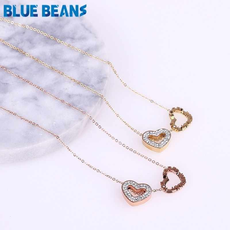 Heart necklace woman long chain pendant stainlesssteel gold rose gold color necklaces christmas gift luxurious jewelry wedding c