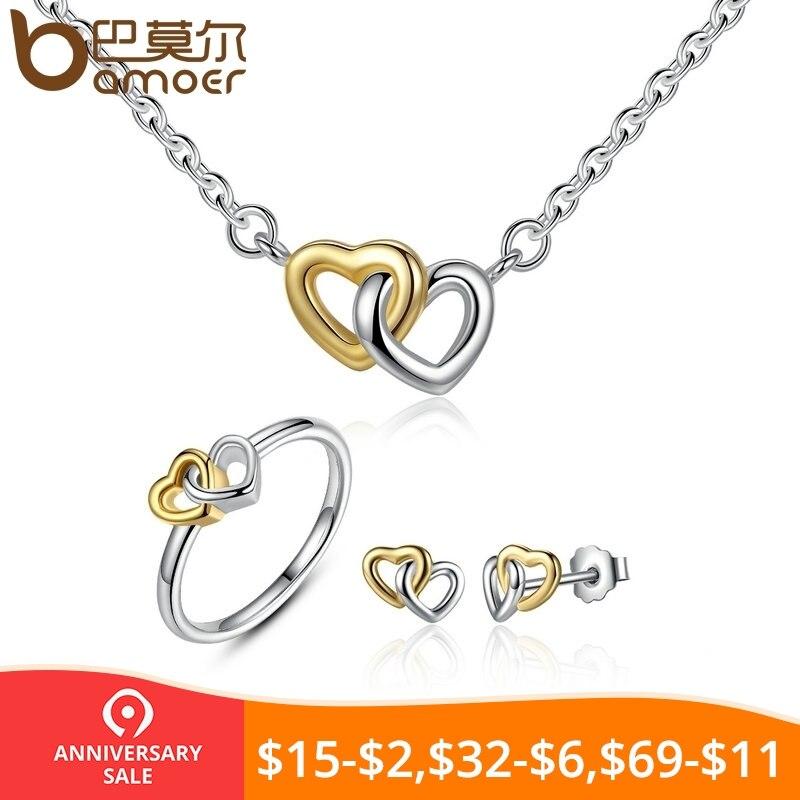 d3b671d4dcf9 BAMOER genuino Plata de Ley 925 joyería nupcial conjunto de corazón a corazón  conjuntos de joyas