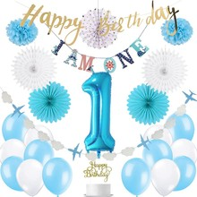 First Birthday Boy Party 1st Decor 28pcs/set With I AM ONE Banner Latex Balloon Paper Rosette Fans For Kids