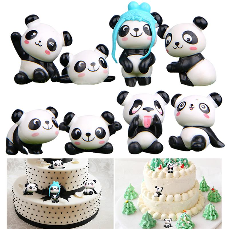 Image 3 - 8PCS Playful Version Cartoon Panda Cake Decoration Creative Wild Garden Micro Landscape Cute Doll Party Cake Decoration-in Cake Decorating Supplies from Home & Garden