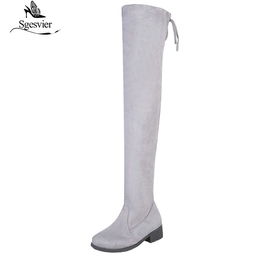 Sgesvier Women Casual Over the Knee boots shoes Winter women Female Round Toe med Thick heels Slim Long Boots shoes mujer B924
