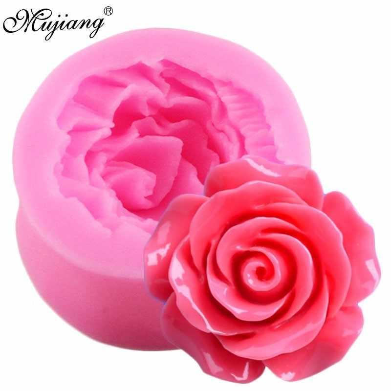 3D Bunga Mawar Silikon Cetakan Tanah Liat Polimer Sabun Permen Kue Cokelat Cetakan Kue Topper Kue Fondant Kue Dekorasi Alat