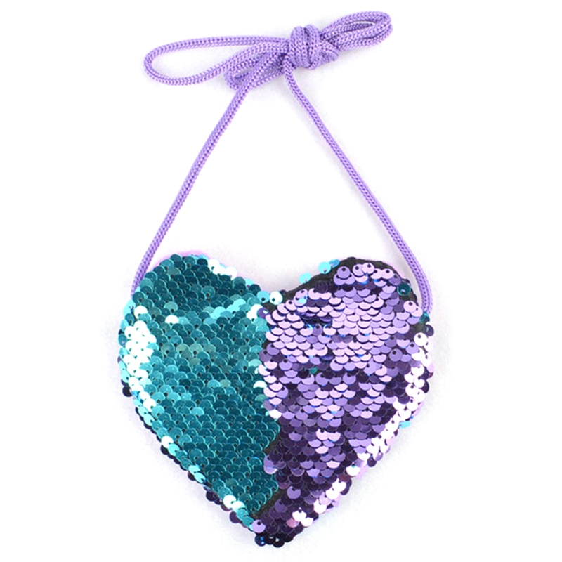 New Sequins Heart Kids Shoulder Coin Bag Baby Girls Mini Messenger Bag Cartoon Boys Small Coin Purse