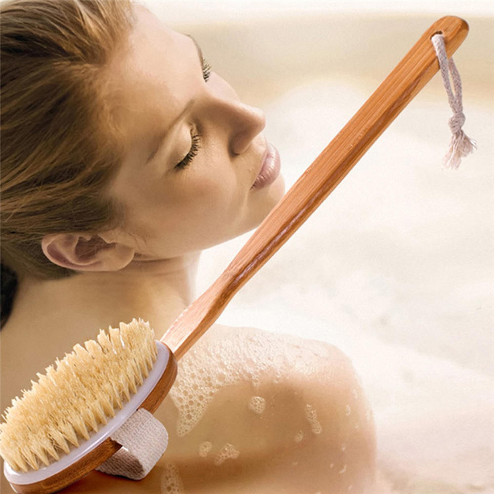 Natural Bristle Body Brush Scrubber Long Handle Wooden Brush Scrubs Bodys Treatment Massager Bath Shower Back Spa Cleaner