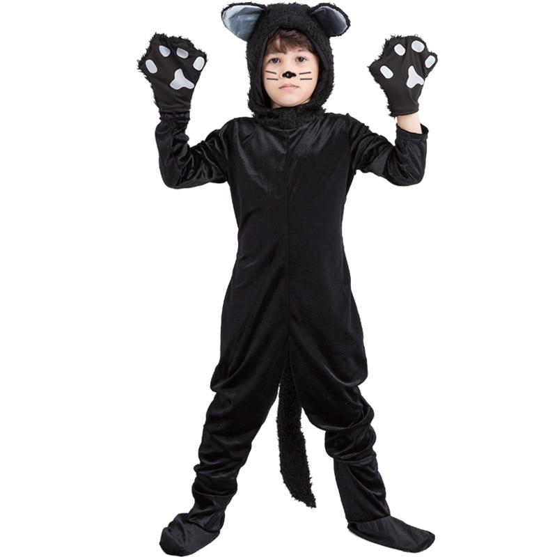 Purim Kids Boy Animal Costume Cute Child Black Cat Cosplay Halloween Carnival Fancy Dress