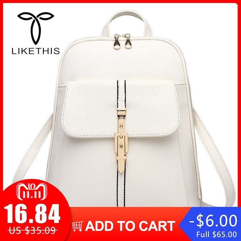 Fashion Women Backpacks PU Leather Solid Color Backpack School Bags College Simple Design Casual Daypacks For Women Backpacks stylish solid color lightweight pleated scarf for women