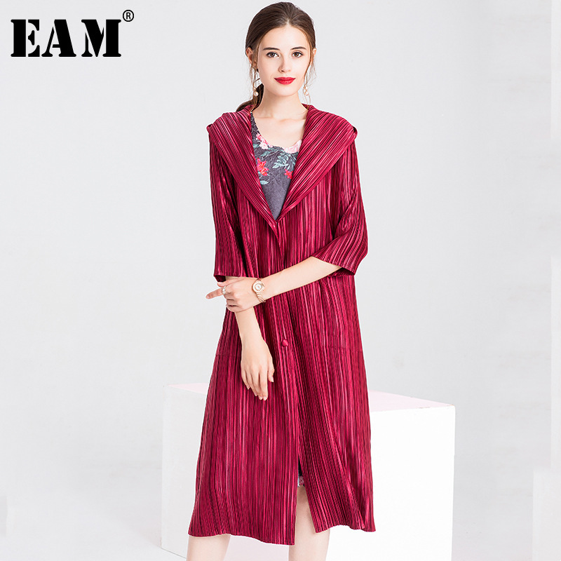 [EAM] 2019 New Spring Summer Hooded Long Sleeve Black Loose High Elastic Pleated Big Size Windbreaker Women   Trench   Fashion JR087