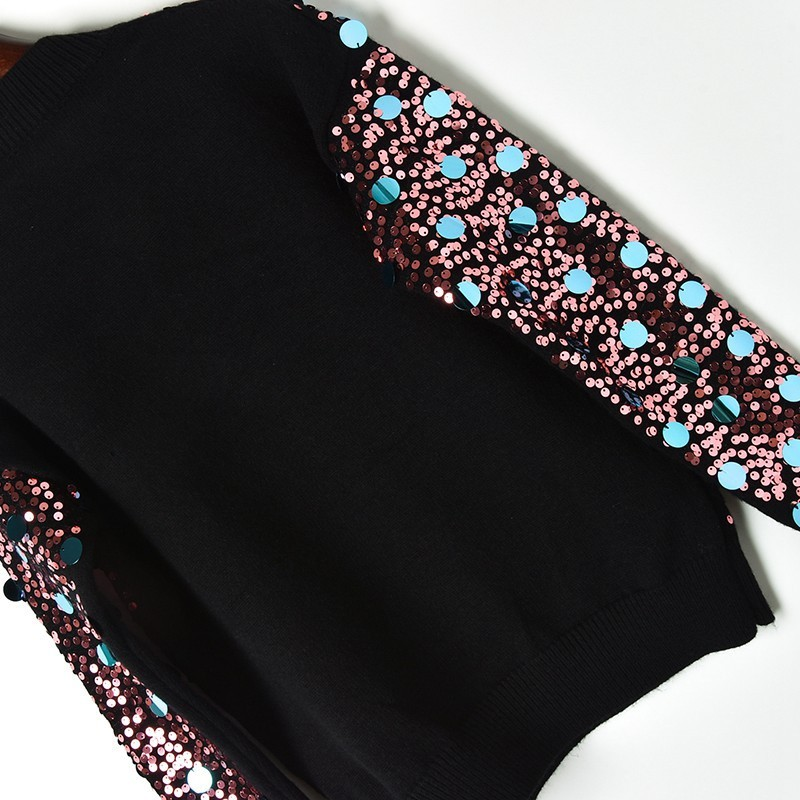 Tricoté Pour Spot Blouson Nouveau Brillant full De Paillettes Tête Of 2018 Hiver Sequins Femme UICwfqBC