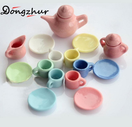 1:12 DOLLHOUSE Mini Furniture Accessories Colorful Ceramic Cup & Teapot 15pcsset DIY Doll House Miniature Dollhouse Furniture