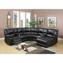 Bonded Leather 5 Pieces Reclining Sectional In Black