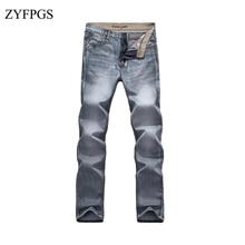 52d2a48f ZYFPGS 2018 Men Levi Demin Jeans Elasticity Casual Men's Washed Gray  Straight Retro Jean Male Slim
