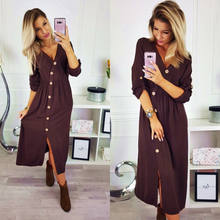 Fashion Casual Womens Ladies Button Deep V-Neck Bodycon Jumper Dress Long  Sleeve Autumn Winter Party Dress Brown Green Wine Red 33d93169999b