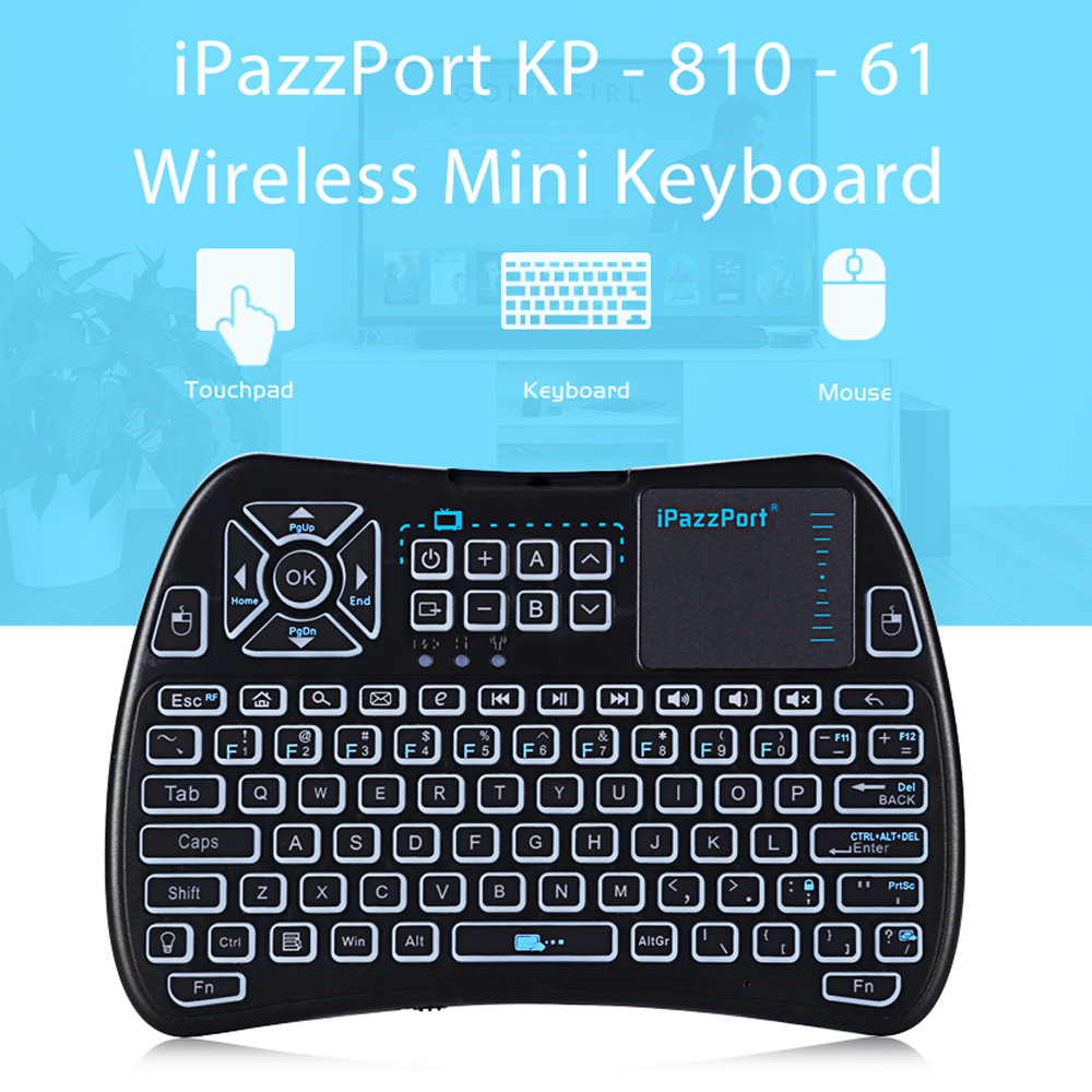 IPazzPort KP - 810 - 61 Wireless Mini Keyboard Touchpad Backlight 2.4GHz WiFi IR Learning Air Mouse For Android TV BOX Mini PC