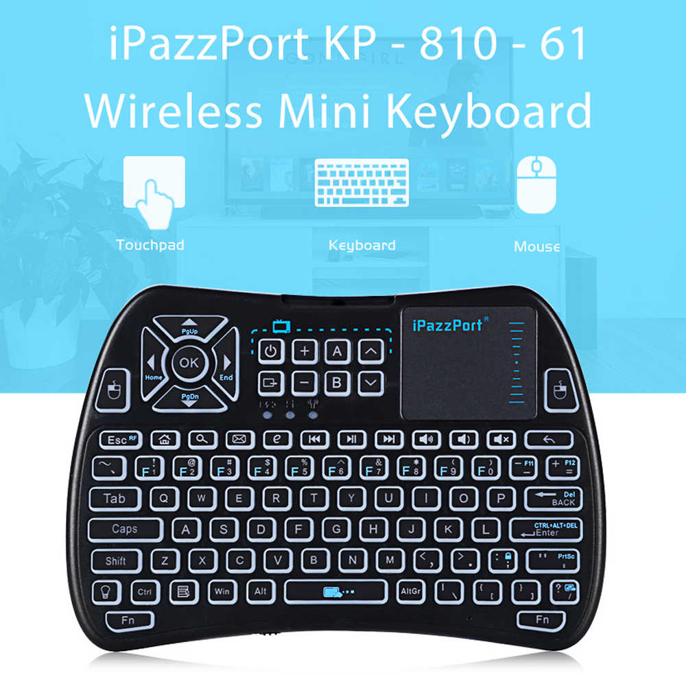 f65148a8b26 iPazzPort KP - 810 - 61 Wireless Mini Keyboard Touchpad Backlight 2.4GHz  WiFi IR Learning