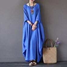 Кафтан женское Макси платье Летнее о-образный вырез с длинным рукавом весеннее хлопковое льняное платье халат платья размера плюс платья больших размеров