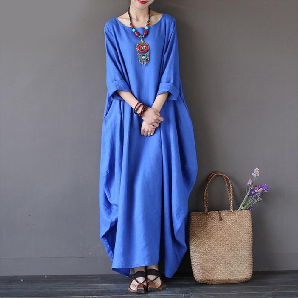 Kaftan Womens Maxi Dress Summer O Neck Long Sleeve Spring Cotton Linen Gown Robe Dresses Plus Size Large Size Dresses
