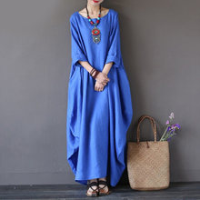 Kaftan Womens Maxi Dress Summer O Neck Long Sleeve Spring Cotton Linen Gown Robe Dresses Plus Size Large Size Dresses(China)