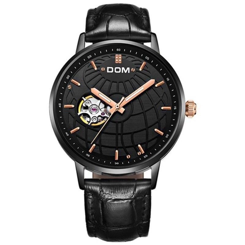 DOM роскошные механические часы Для мужчин часы водонепроницаемые кожаные часы модные автоматические часы M-8100-1M