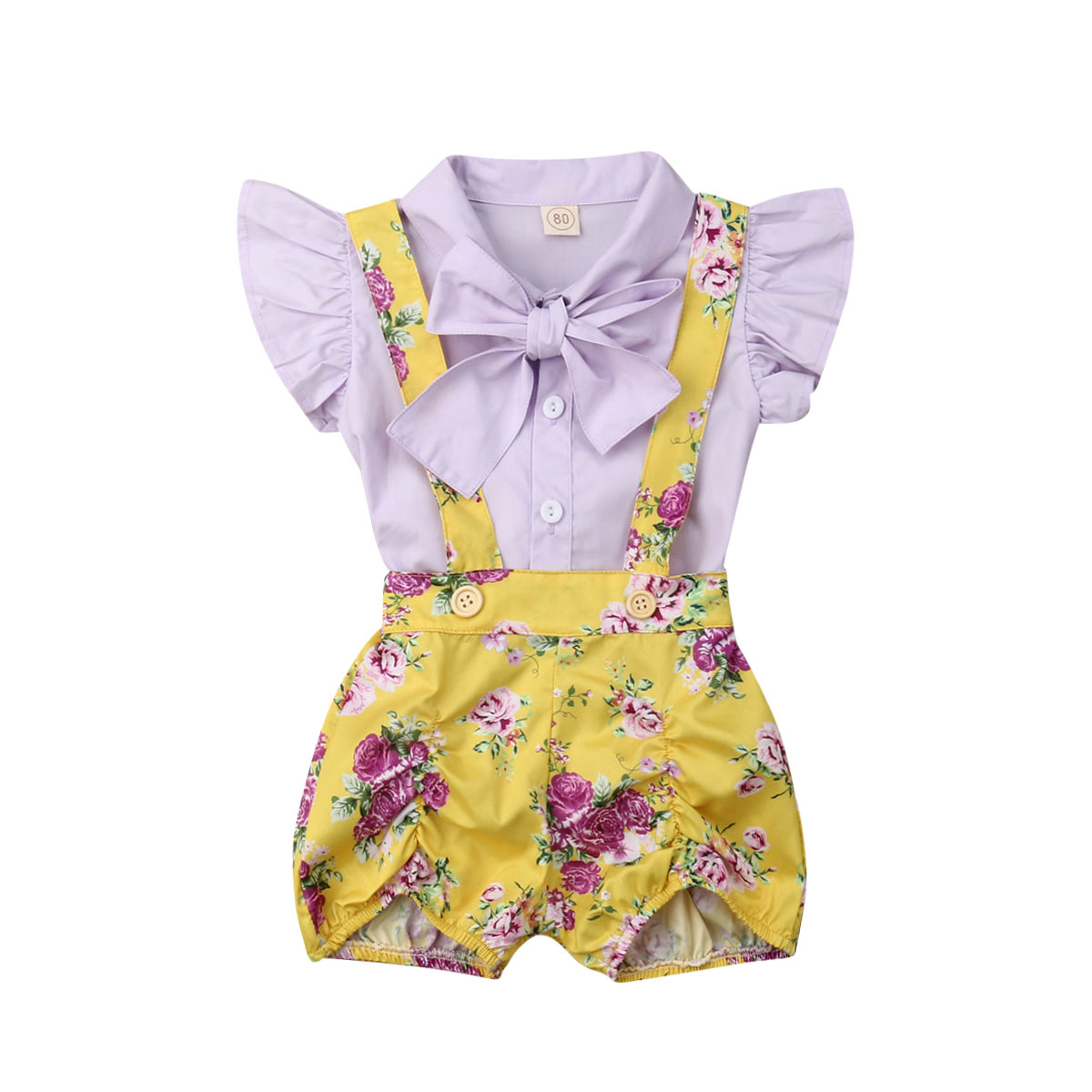 Clothing Sets Girls' Clothing Toddler Infant Baby Girl 2019 New Brand Summer Fly Sleeve Bowknot Top Floral Short Overall Set Clothes 6m-4t