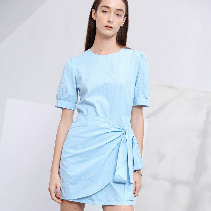 ZANZEA Summer Casual Shirt Dress Lace Up Mini Dress Women Short Sundress Beach O-Neck A Line Solid Dresses Vestidos Plus Size