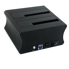 Двойной диск USB3.0 Алюминиевый жесткий диск снизу для 2,5 3,5 дюймов Hdd/Ssd с функцией офлайн копирования EU Plug