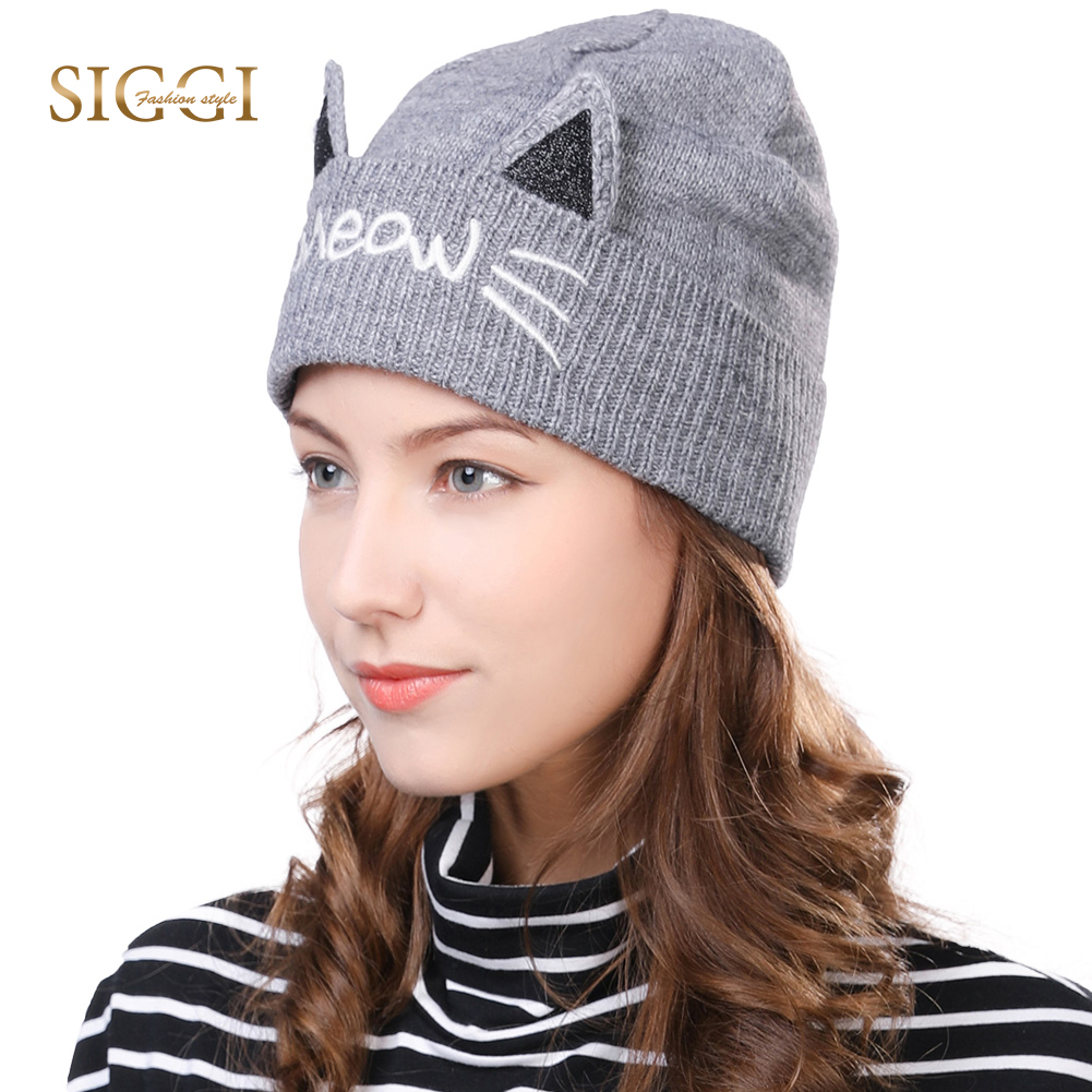1ee879529e1 FANCET Winter Wool Beanies For Women Pussycat Ear Cute Acrylic Fleece Lined  Soft Lining Skullies Cold Weather Knitted Hats 89204