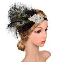 Peacock Feather Hair Accessories Women Crystal Headband Ladies Vintage Black Headwear Rhinestone Boho High Quality 2019 New