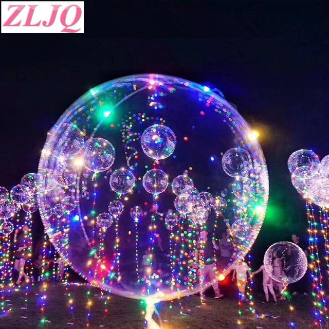 ZLJQ Happy Birthday Led Balloon 3M LED Air String Lights New Year Helium Balloons Christmas Ball Wedding Party Decor