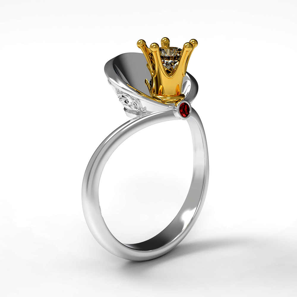 Bulgaria Jewelry Women's Gold Queen Crown Ring New Design Vintage Silver Wedding Engagement Ring 2019 Fashion Jewelry Accessory