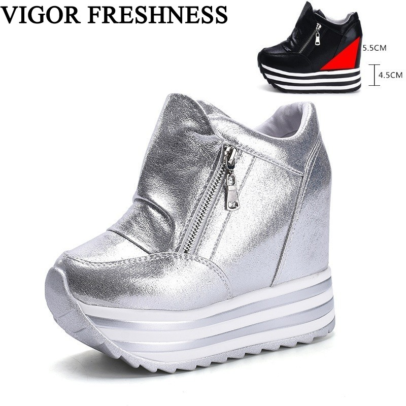 VIGOR FRESHNESS Women Shoes Spring Platform Pumps High Hidden Heels Shoes Woman Pumps White Sneakers Tennis Shoes Autumn WY317