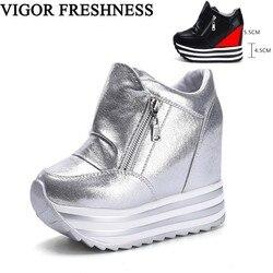 Vigor frescor sapatos femininos primavera plataforma bombas de salto alto escondido sapatos mulher bombas tênis branco sapatos outono wy317