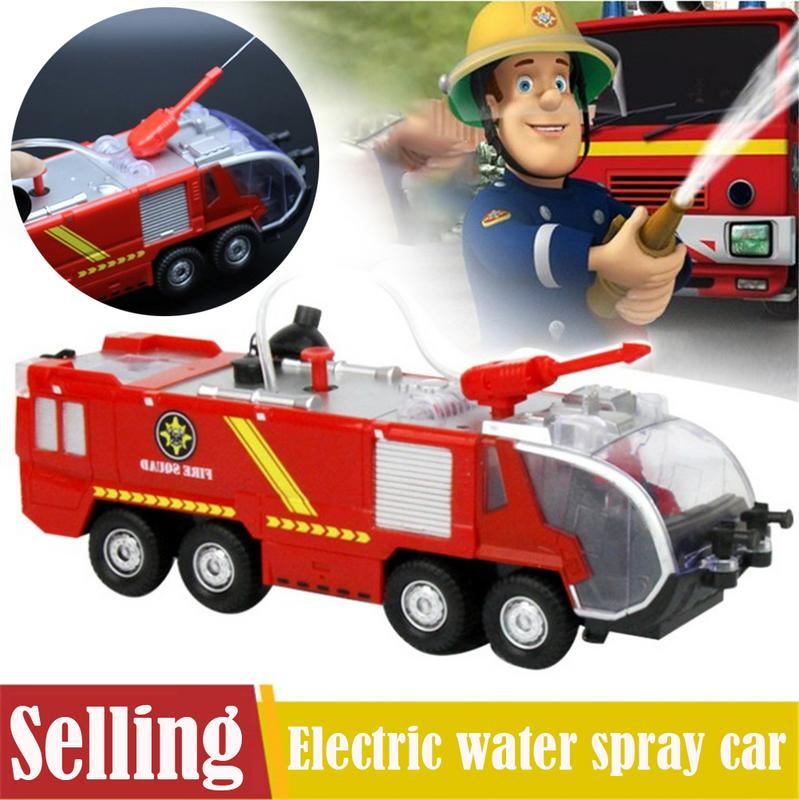 Spray Water Gun Toy Truck Fireman Sam Fire Truck Vehicles Car Music Light Cool Educational Toys For Kids Boys Firetruck