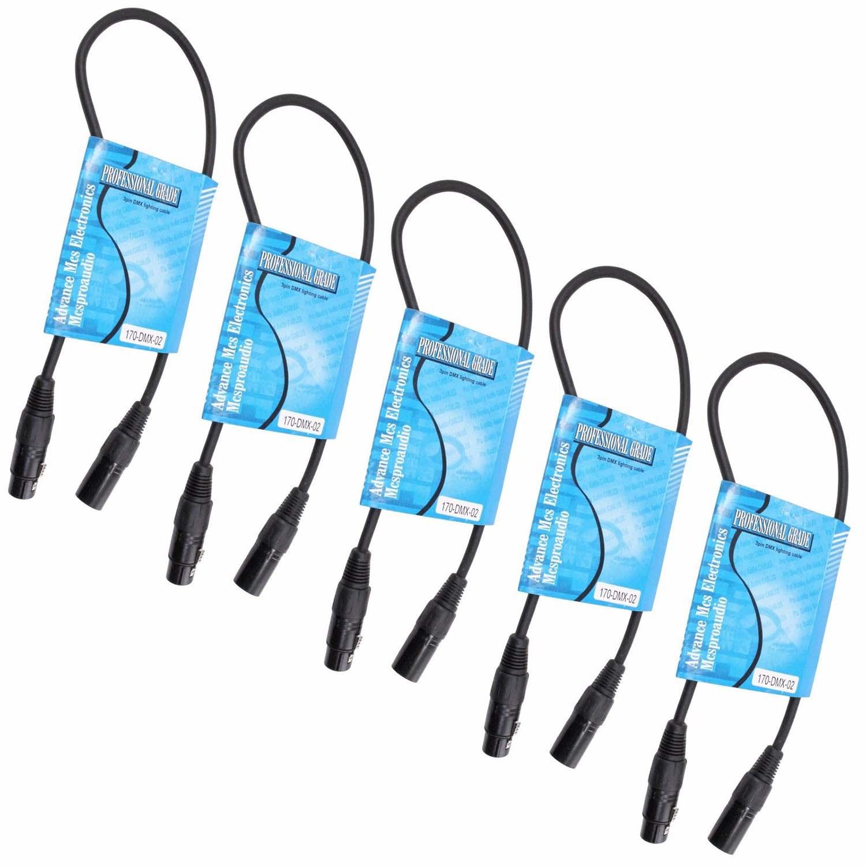 Unterhaltungselektronik Ehrlich 5 Pack 2 Ft Fuß Füße Lange 3 Pin Männlich Zu Weiblich Xlr Geschirmt Dmx Daten Kabel Weniger Teuer