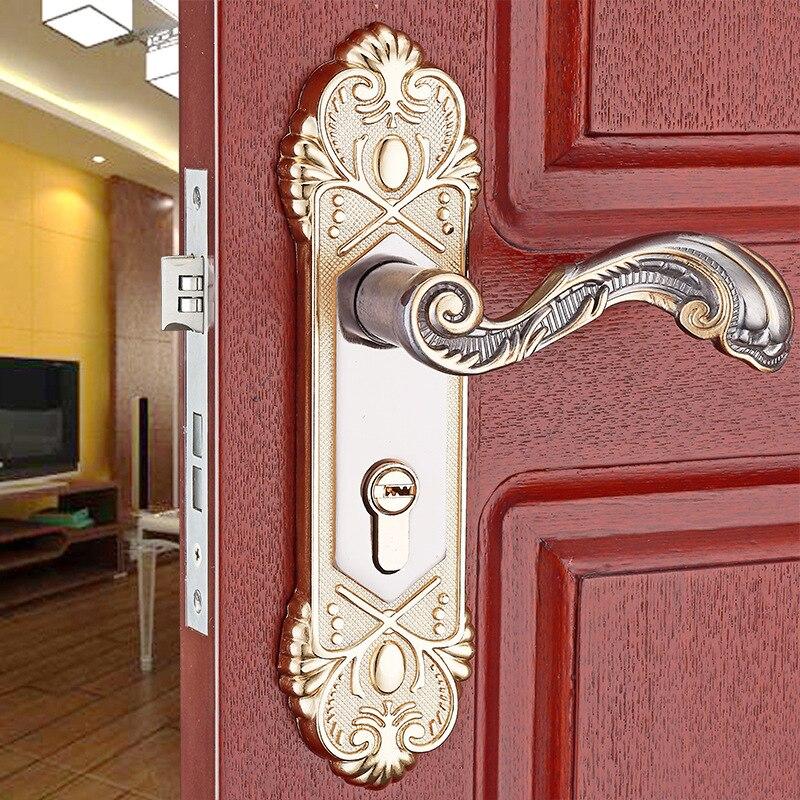 European new aluminum alloy bedroom wooden door lock hardware lock with lock coreEuropean new aluminum alloy bedroom wooden door lock hardware lock with lock core