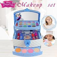 32Pcs Disney Princess Makeup Case Toys Mini Portable Play House Cosmetics Toy With Lip Gloss Blush Brush Eyeshadow Nail Polish