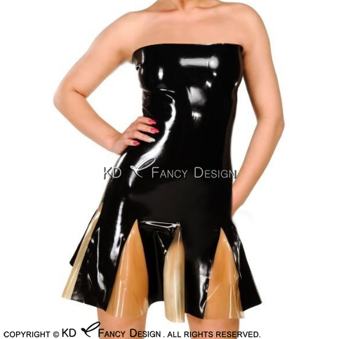 Black With Transparent Sexy Pleated Strapless Latex Dress With Zipper At Back Rubber Dress Bodycon Playsuit LYQ-0163