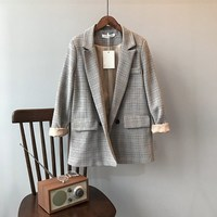 Spring Blazer Slim Korean Restore Plaid Blazer Feminine Outwear Suit Loose Suit Harajuku Vintage Jacket