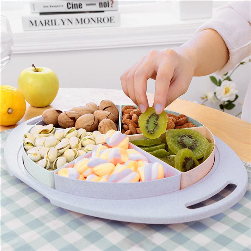 Outdoor Food Plate Serving 6 Sections Divided Platter Tray Snack Container