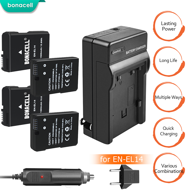 BATTOOL 4 pièces 7.2 V 1500 mAh EN-EL14 EN EL14 Batterie D3100 D3200 D3300 D5100 D5200 D5300 P7000 P7100 P7700 P7800 pour Nikon