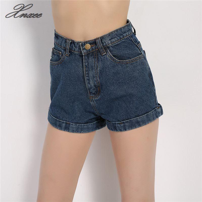 Women Denim Shorts Vintage High Waist Cuffed Jeans Street Wear Sexy Summer Spring Autumn