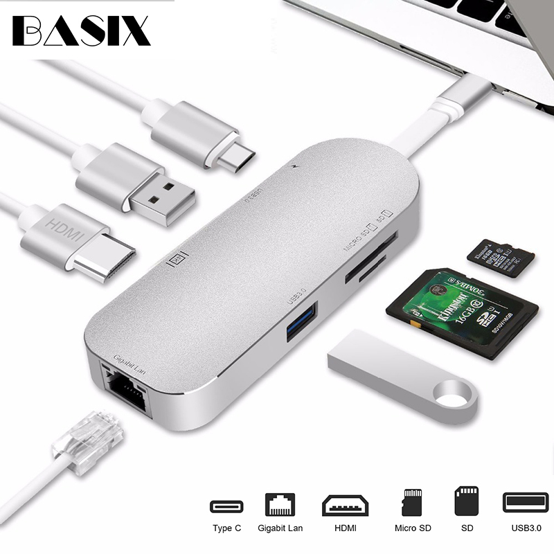 Basix Type C USB C Hub 7 in 1 USB 3.1 Type C to HDMI USB 3.0 RJ45 SD/TF Card Reader PD Charging Adapter Converter for MacBasix Type C USB C Hub 7 in 1 USB 3.1 Type C to HDMI USB 3.0 RJ45 SD/TF Card Reader PD Charging Adapter Converter for Mac
