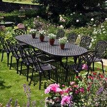 11 pezzo fuso di alluminio patio mobili da giardino mobili da giardino mobili da giardino set per tutte le stagioni anti ruggine in bronzo di colore
