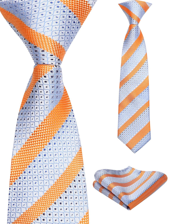 38cm Child Pre-tied Necktie For Boys Plaids Woven Handkerchief Set Kids School Parent-Child Tie  Pocket Square Set