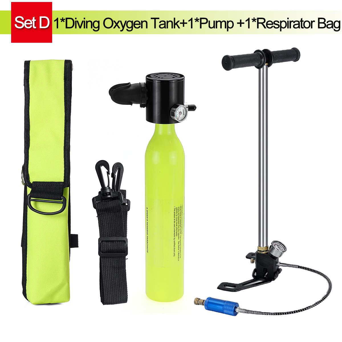 SMACO 0.5L Mini Scuba Oxygen Cylinder Air Tanks Diving Equipment For Snorkeling Underwater Breathing With Pump Respirator Bag
